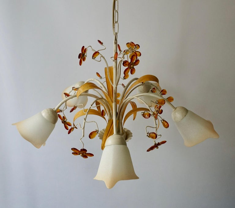 Pair of Painted Tole Bell-Shaped Five-Light Chandelier with Murano Glass Flowers For Sale 8