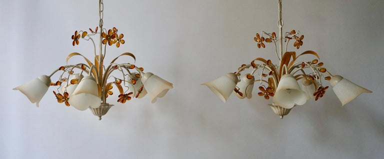 Hollywood Regency Pair of Painted Tole Bell-Shaped Five-Light Chandelier with Murano Glass Flowers For Sale