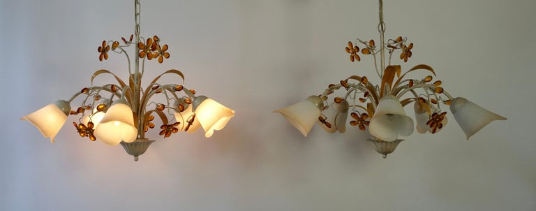 Italian Pair of Painted Tole Bell-Shaped Five-Light Chandelier with Murano Glass Flowers For Sale