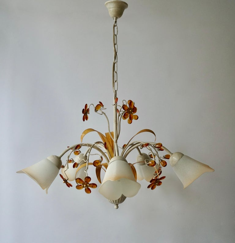 20th Century Pair of Painted Tole Bell-Shaped Five-Light Chandelier with Murano Glass Flowers For Sale