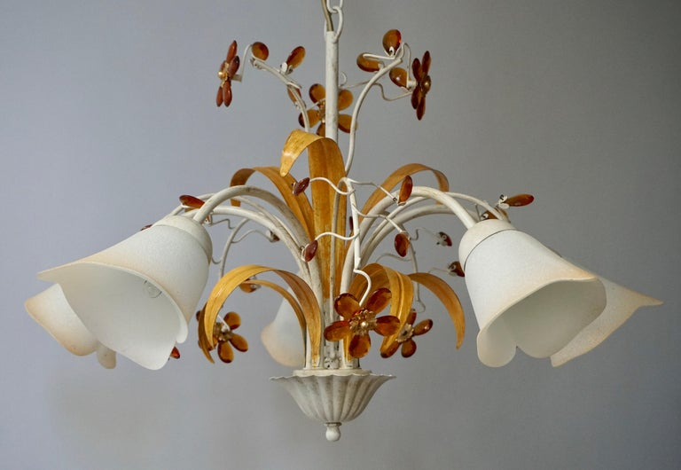 Pair of Painted Tole Bell-Shaped Five-Light Chandelier with Murano Glass Flowers For Sale 1