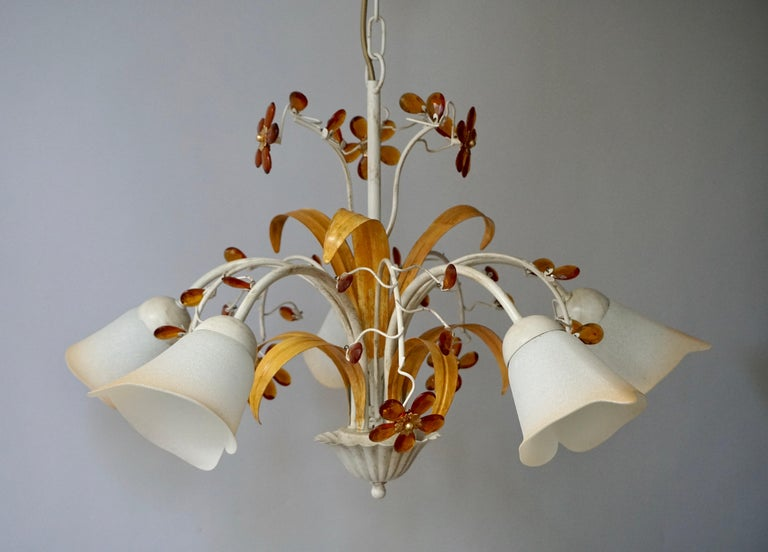 Pair of Painted Tole Bell-Shaped Five-Light Chandelier with Murano Glass Flowers For Sale 2
