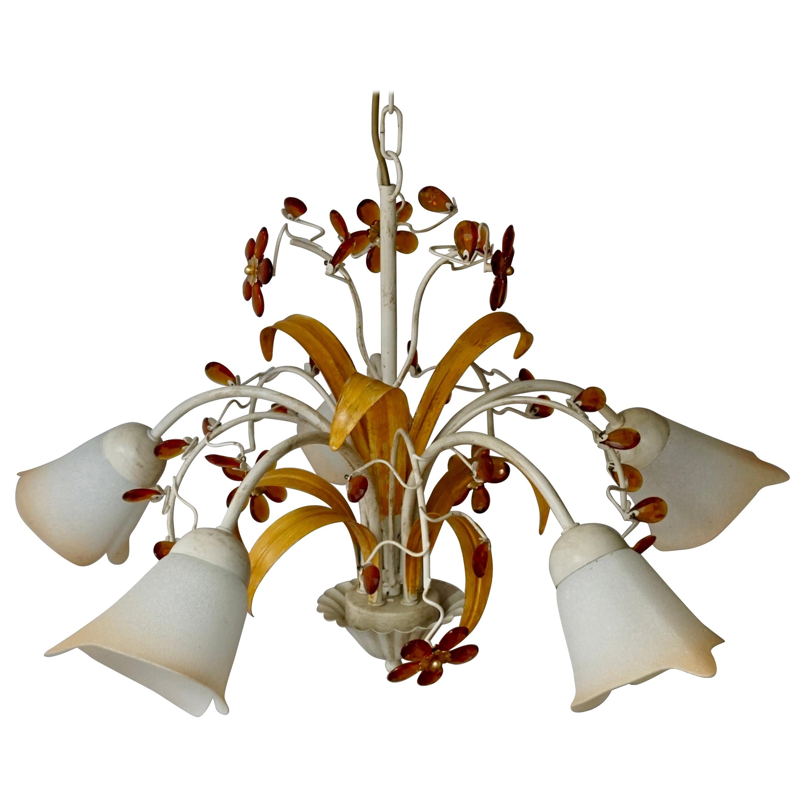 Pair of Painted Tole Bell-Shaped Five-Light Chandelier with Murano Glass Flowers