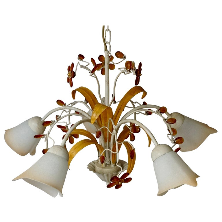 Pair of Painted Tole Bell-Shaped Five-Light Chandelier with Murano Glass Flowers For Sale