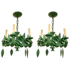 Pair of Painted Tole Chandeliers, Sold Individually