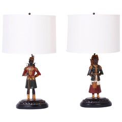 Pair of Painted Tole Figural Table Lamps