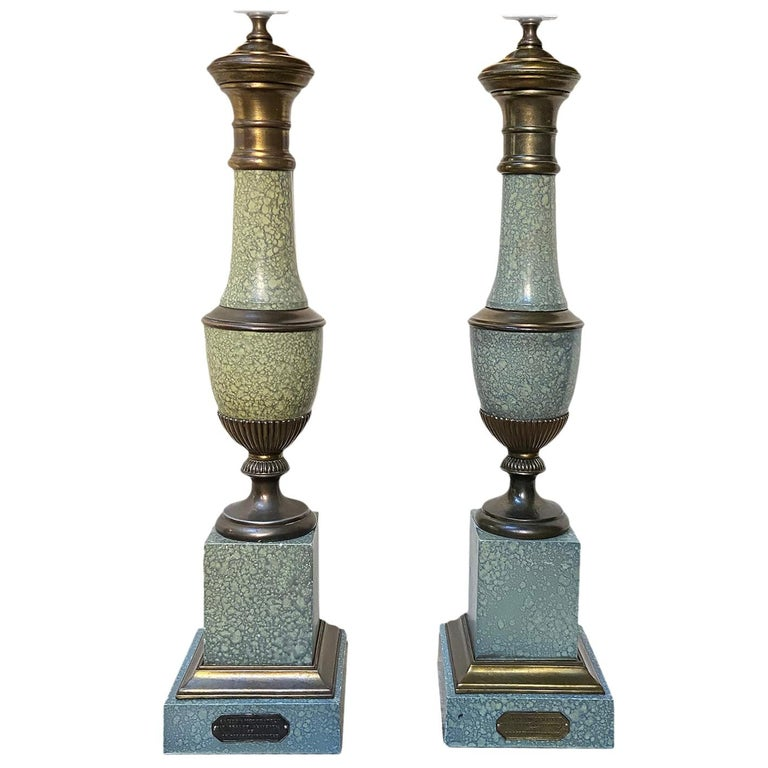 Pair of Painted Tole Lamps For Sale
