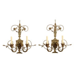 Pair of Painted Tole Sconces