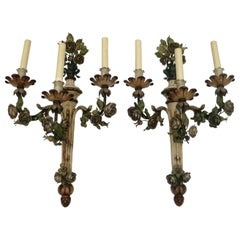 Pair of Painted Tole Three-Arm Louis XVI Style Floral Sconces