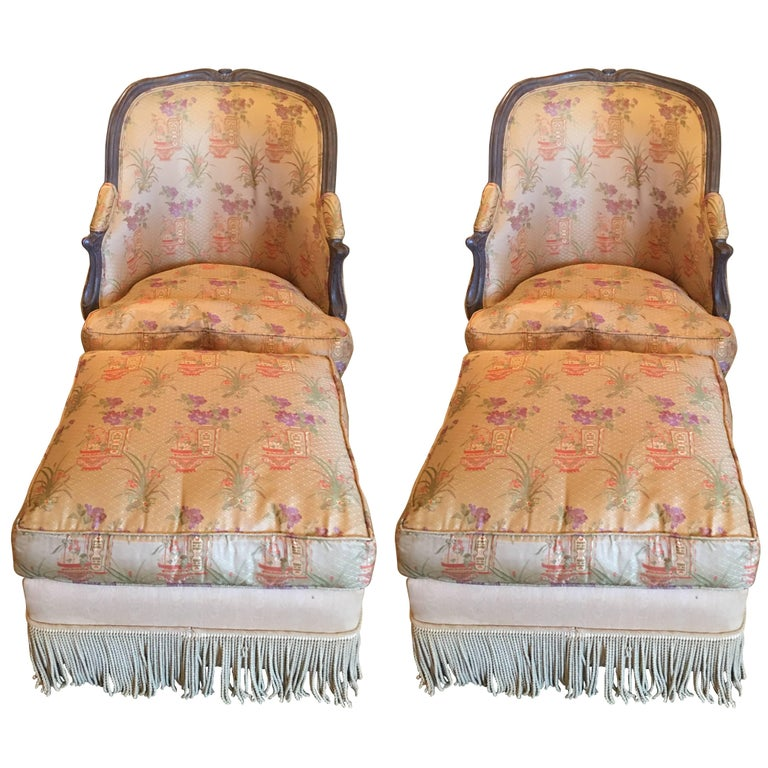 Pair of Painted Upholstered Chairs with Ottoman, 20th Century