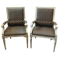 Pair of Painted Walnut Louis XVI Style Armchairs