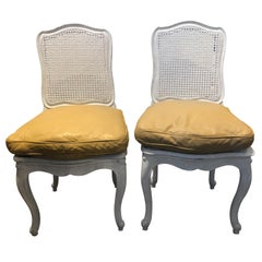 Pair of Painted White French-Style Caned Chairs with Tan Leather