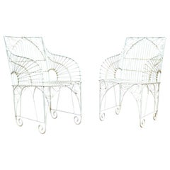 Pair of Painted Wire Patio Armchairs