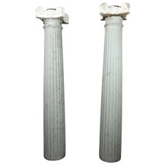 Pair of Painted Grey and White Wood Columns with Ionic Plaster and Wood Capitals