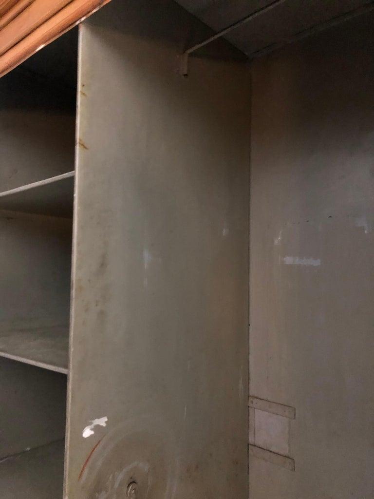 Pair of Painted Wood Grain Metal Armoires For Sale 7
