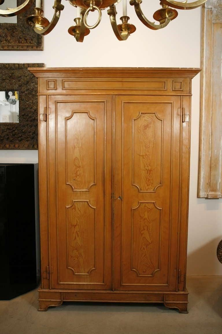 French Pair of Painted Wood Grain Metal Armoires For Sale