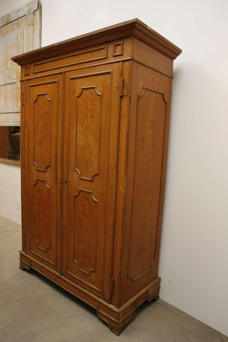 Pair of Painted Wood Grain Metal Armoires For Sale 3