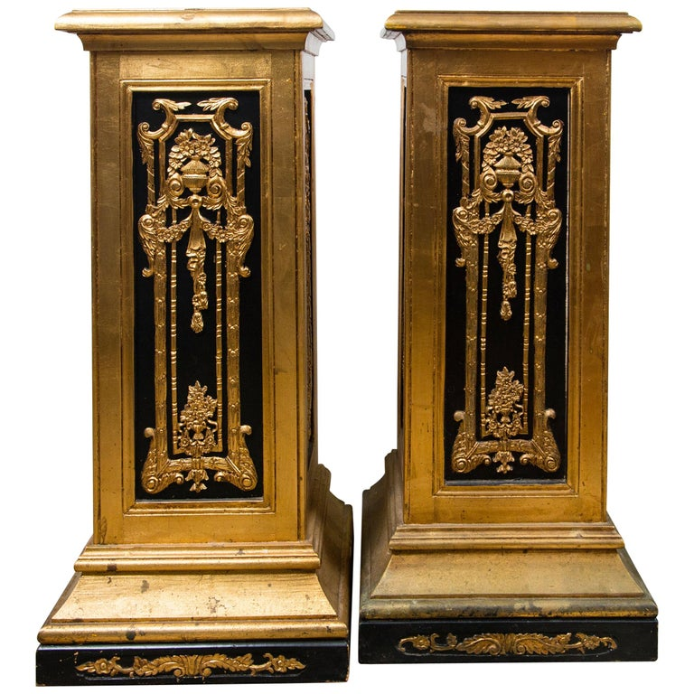 Pair of Painted Wood Pedestals For Sale