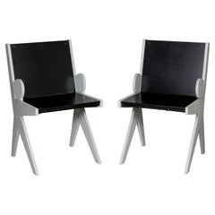 """Pair of Painted Wood Side Chairs Titled """"Friendly"""" by Ricardo Blanco, Argentina"""