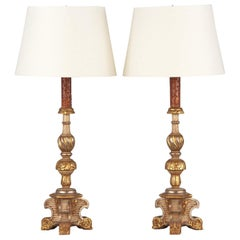 Pair of Painted Wooden Lamps, Italy, Late 1800s