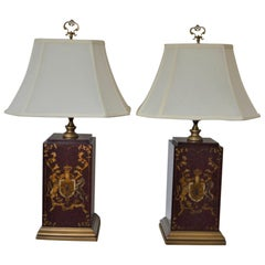 Pair of Painted Wooden Table Lamps Decorated with Armorial and Musical Design