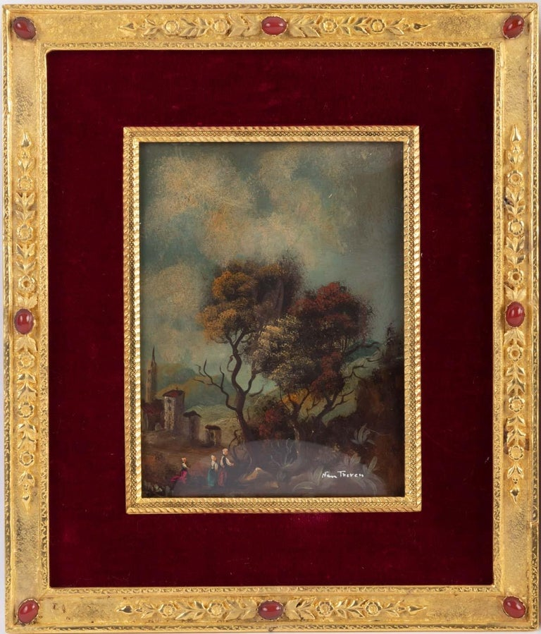Pair of painting on porcelain gilded bronze frame 19th century Napoleon III Signed lower right NAMTHEREN. The frame is in gilt bronze with amber inlays. Late 19th century, Napoleon III. Measures: H 21cm, W 18cm.