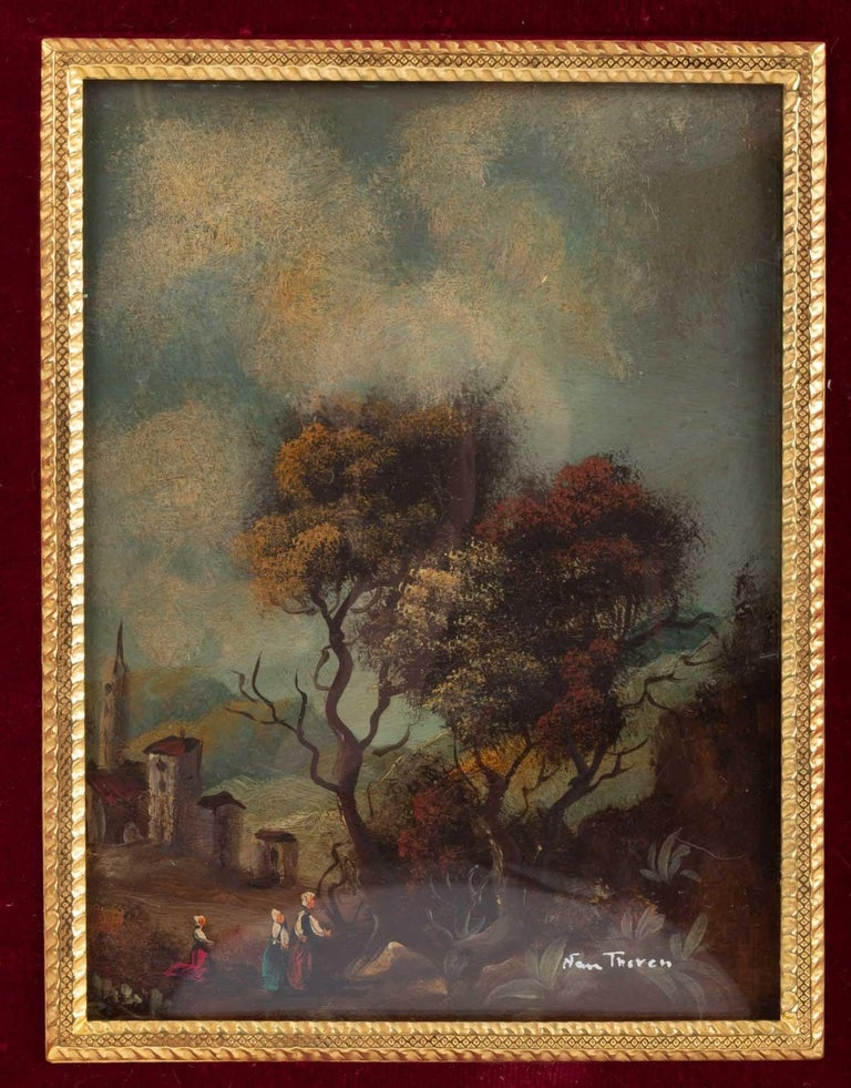 French Pair of Painting on Porcelain Gilded Bronze Frame 19th Century Napoleon III For Sale