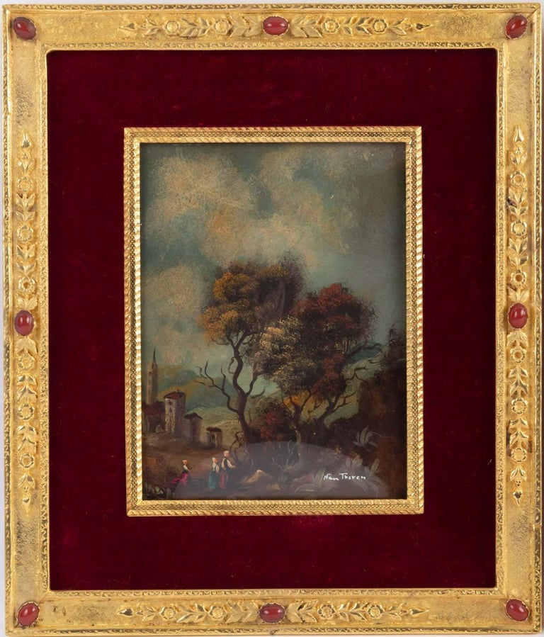 Pair of Painting on Porcelain Gilded Bronze Frame 19th Century Napoleon III For Sale 3