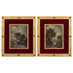 Pair of Painting on Porcelain Gilded Bronze Frame 19th Century Napoleon III