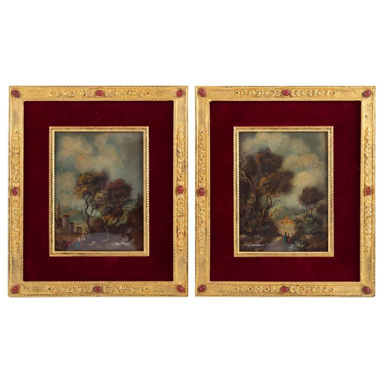 Pair of Painting on Porcelain Gilded Bronze Frame 19th Century Napoleon III For Sale