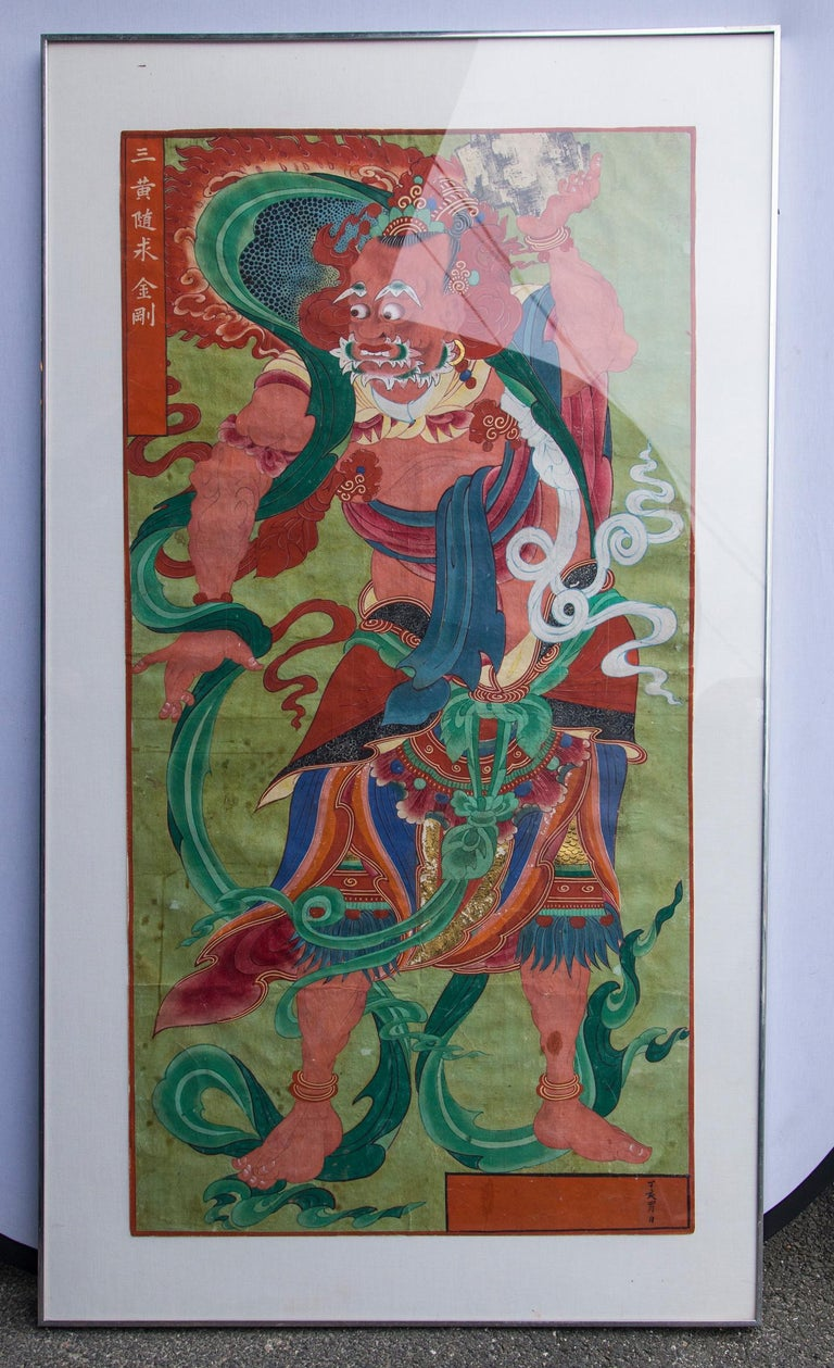 Pair of Paintings of Korean Buddhist Gods For Sale 1