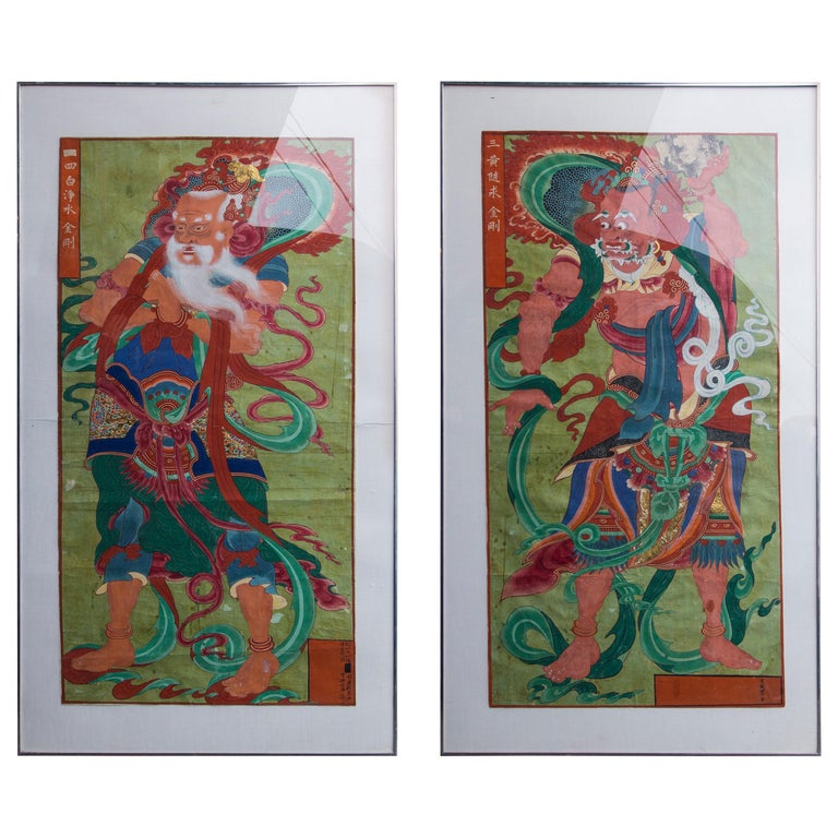 Pair of Paintings of Korean Buddhist Gods For Sale