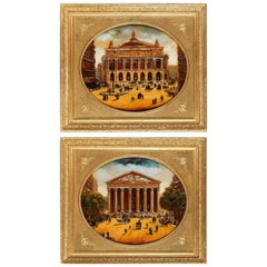 Pair of Paintings on Glass Views of the Madeleine and the Opéra Garnier