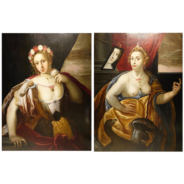 Pair of Paintings on Panel, Workshop of Abraham Janssens For Sale