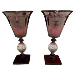 Pair of Pairpoint Controlled Bubble Cut Glass Vases
