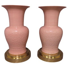 Pair of Palace Floor Vases on Brass Stands, circa 1980s