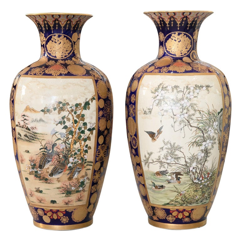 Pair of Palace Sized Vintage Japanese Kutani/Satsuma Vases, circa 1920s For Sale