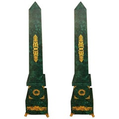 Pair of Palacial Six Feet Tall Magnificent Malachite and Dore Bronze Obelisks