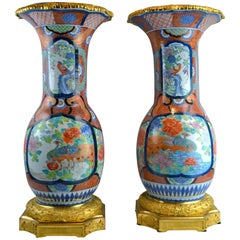 Palatial 19th Century Japanese Imari Vases with French Gilt Bronze Mounts, Pair