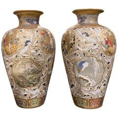 Pair of Palatial Century Japanese Satsuma Vase