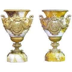 Pair of Palatial Classical Bronze and Siena Marble Urns