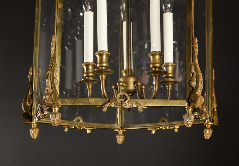 Pair of Palatial French Louis XVI Style Gilt Bronze and Glass Lanterns For Sale 6