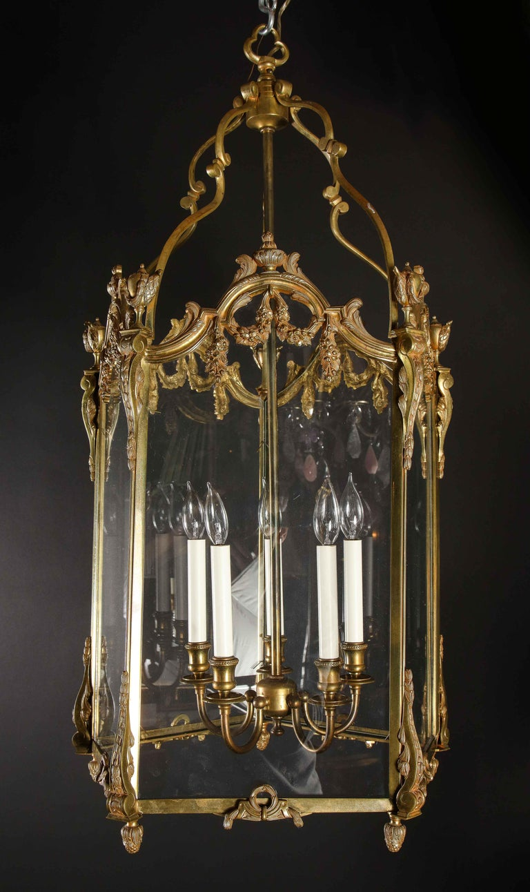 Pair of Palatial French Louis XVI Style Gilt Bronze and Glass Lanterns For Sale 7