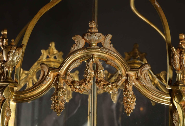 Pair of Palatial French Louis XVI Style Gilt Bronze and Glass Lanterns For Sale 10