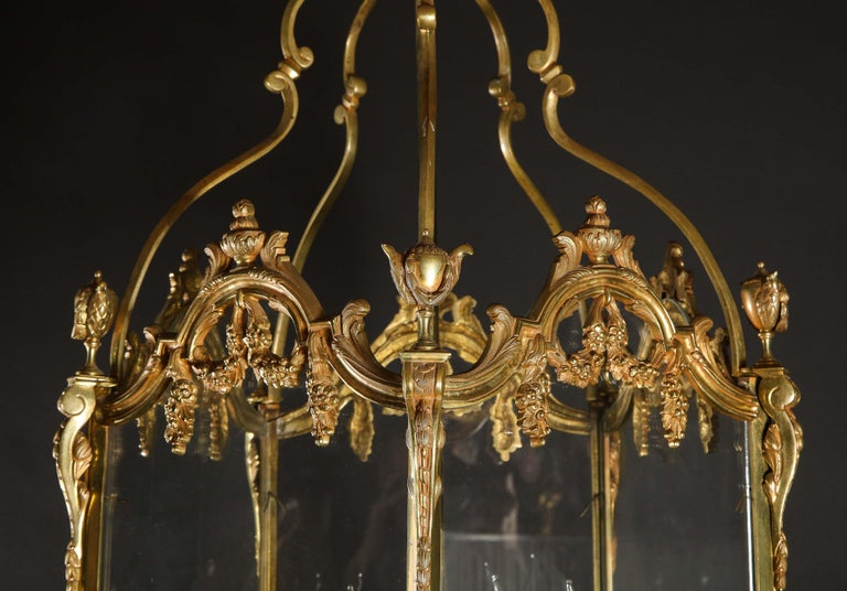 Pair of Palatial French Louis XVI Style Gilt Bronze and Glass Lanterns For Sale 11