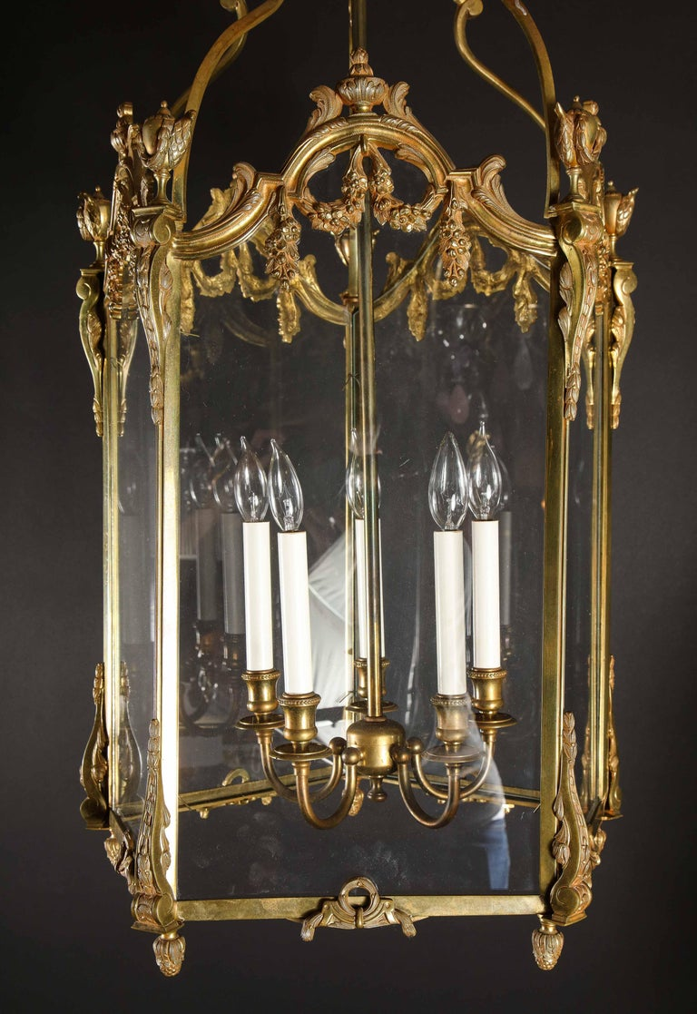 Pair of Palatial French Louis XVI Style Gilt Bronze and Glass Lanterns For Sale 12
