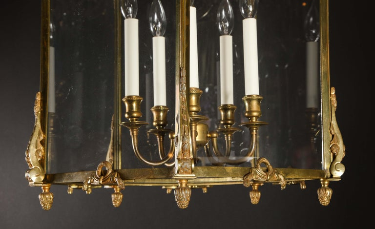 Pair of Palatial French Louis XVI Style Gilt Bronze and Glass Lanterns For Sale 2