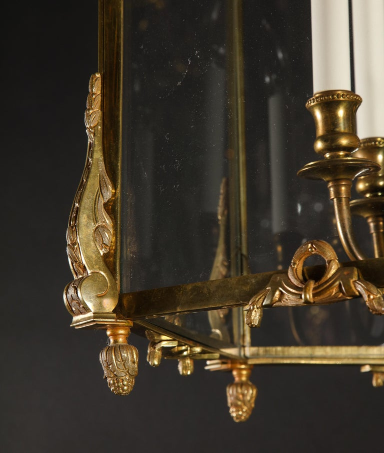 Pair of Palatial French Louis XVI Style Gilt Bronze and Glass Lanterns For Sale 3