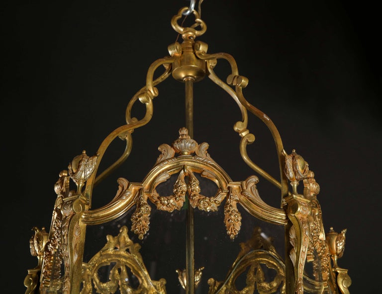 Pair of Palatial French Louis XVI Style Gilt Bronze and Glass Lanterns For Sale 5