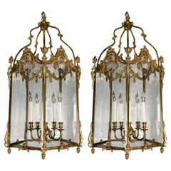 Pair of Palatial French Louis XVI Style Gilt Bronze and Glass Lanterns